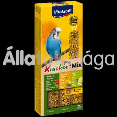 Vitakraft Kräcker TrioMix szezám&banán + gyógynövény&paprika + kiwi&citrom hullámospapagájnak 3db-os