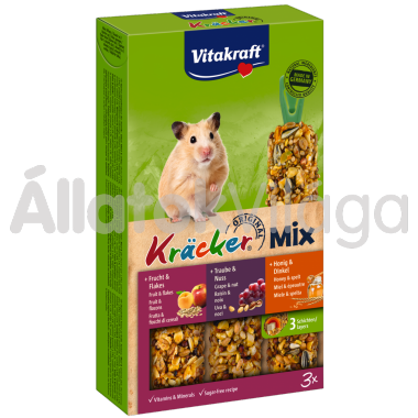 Vitakraft Kräcker TrioMix méz&tönköly + szőlő&mogyoró + gyümölcs&zabpehely aranyhörcsögnek 3 db-os