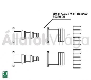 JBL ki- és befolyó csonk tömítéssel (12/25/32 mm-es) UV-C UV-szűrő 9/11/18/36 W-oshoz 2 db 60330
