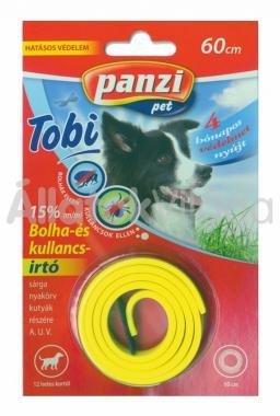 Panzi Tobi Bolha- és kullancsirtó nyakörv kutyáknak 60 cm-es bliszteres sárga