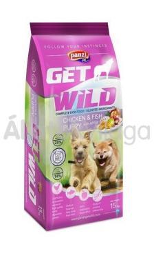 Panzi GetWild Chicken&Fish Puppy-kölyök kutyaeledel Csirke&Hal Almával 15 kg-os