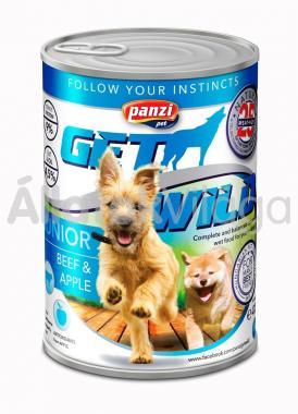 Panzi GetWild Junior-kölyök kozerv kutyaeledel Marha&Alma 415 g-os