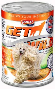 Panzi GetWild Adult-felnőtt kozerv kutyaeledel Csirke&Alma 415 g-os