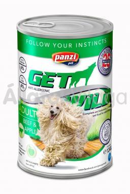 Panzi GetWild Adult-felnőtt kozerv kutyaeledel Marha&Alma 1240 g-os
