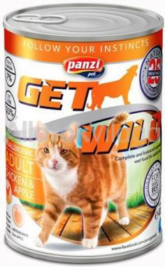 Panzi GetWild Adult-felnőtt konzerv macskaeledel Csirke&Alma 415 g-os
