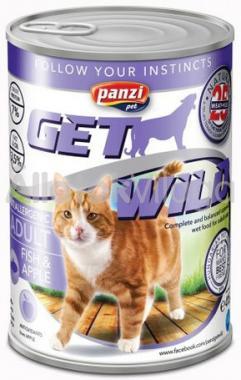 Panzi GetWild Adult-felnőtt konzerv macskaeledel Hal&Alma 415 g-os