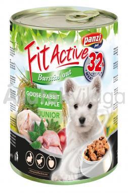 Panzi FitActive Junior-kölyök Goose-Rabbit + Apple liba-nyúl + alma konzerv kutyaeledel 415 g-os