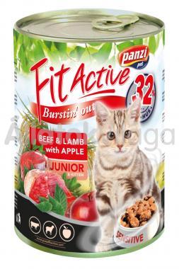 Panzi FitActive Junior-kölyök Beef&Lamb with Apple (marha&bárány almával) macskaeledel 415 g-os