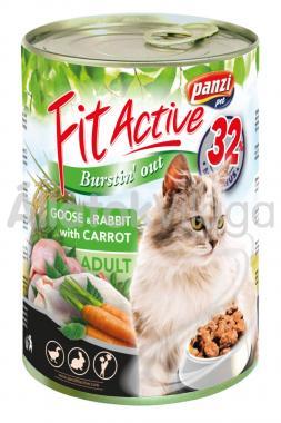 Panzi FitActive Adult-felnőtt Goose&Rabbit with Carrot (liba&nyúl répával) macskaeledel 415 g-os