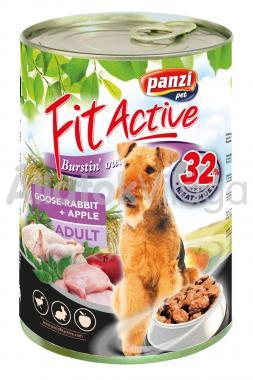 Panzi FitActive Adult-felnőtt Goose-Rabbit + Apple lliba-nyúl + alma konzerv kutyaeledel 1240 g-os