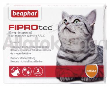 Beaphar FiproTec 50 mg bolha- és kullancsírtó csepp macskáknak 3 db-os