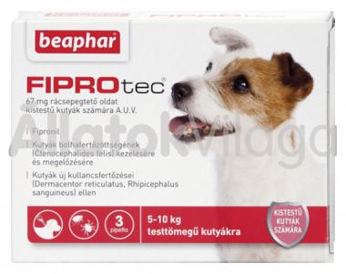 Beaphar FiproTec 67 mg bolha- és kullancsírtó csepp kistestű (2-10 kg) kutyáknak 3 db-os