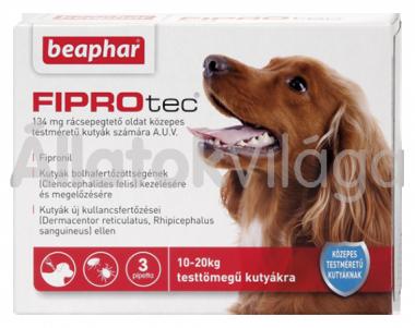 Beaphar FiproTec 134 mg bolha- és kullancsírtó csepp közepestestű (10-20 kg) kutyáknak 3 db-os