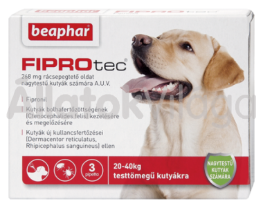 Beaphar FiproTec 268 mg bolha- és kullancsírtó csepp nagytestű (20-40 kg) kutyáknak 3 db-os