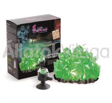Hydor H2shOw dekoráció Earth Gems zöld smaragd + zöld LED