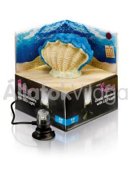 Hydor H2shOw dekoráció Ocean Wonders kék kagyló + kék LED