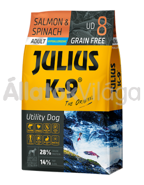 Julius K-9 Utility Dog Salmon & Spinach Adult felnőtt kutya eledel lazac & spenót 10 kg-os