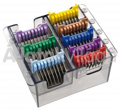 Moser - Wahl toldófésű szett 8 db-os fém (3, 6, 10, 13, 16, 19, 22, 25 mm) ráhúzós