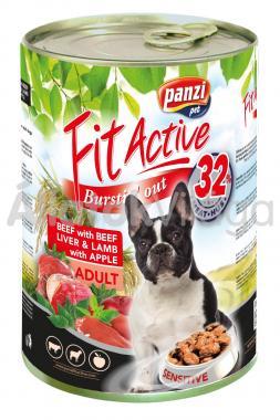 Panzi FitActive Adult-felnőtt Beef with Beefliver & Lamb with Apple konzerv kutyaeledel 1240 g-os