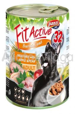 Panzi FitActive Adult-felnőtt Meat-Mix with Apple & Pear konzerv kutyaeledel 415 g-os