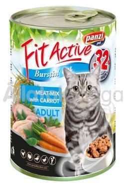 Panzi FitActive Adult-felnőtt Meat-Mix with Carrot (többféle szárnyas répával) macskaeledel 415 g-os