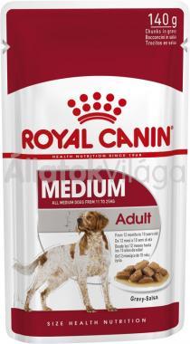 RoyalCanin Medium Adult Gravy - közepestestű felnőtt kutya szószos nedves alutasakos eledel 140 g-os